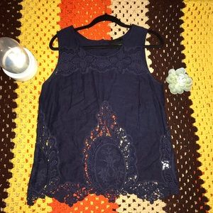 Cynthia Rowley Navy Linen & Lace Top
